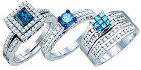 Blue Diamond Bridal Rings