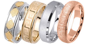 Sandblasted Gold Bands