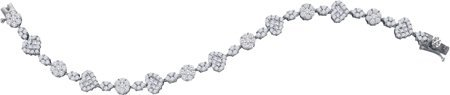 Diamond Heart Bracelet 14K White Gold 4.75 cts. GD-34355