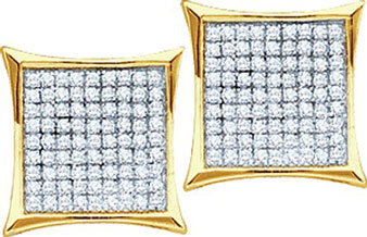10K Gold Diamond Cluster Earrings GD-54283