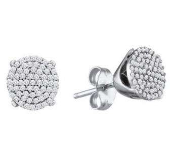 10K White Gold Diamond Cluster Earrings GD-80155