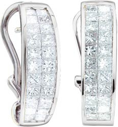 Diamond Cuff Earrings 14K White Gold 1.00 ct. GD-1586