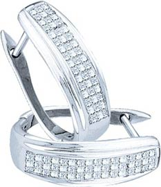 Diamond Cuff Earrings 14K White Gold 0.50 cts. GD-21811
