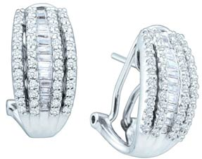 Diamond Cuff Earrings 10K White Gold 1.00 ct. GD-28643