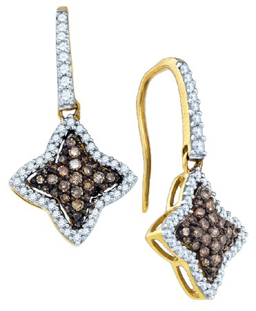 Cognac Diamond Earrings 10K Yellow Gold 0.64 cts. GD-81608