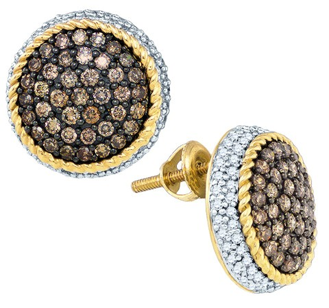 Cognac Diamond Earrings 10K Yellow Gold 1.30 cts. GD-81611