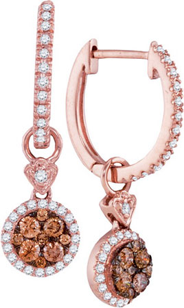 Cognac Diamond Fashion Earrings 14K Rose Gold 0.52 cts. GD-95500