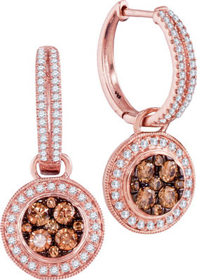 Cognac Diamond Fashion Earrings 14K Rose Gold 1.06 cts. GD-95503