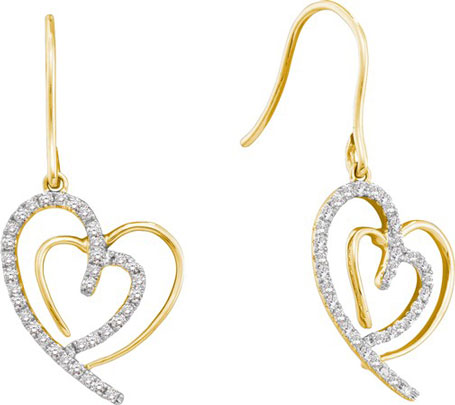 Ladies Diamond Heart Earrings 10K Yellow Gold 0.40 cts. GD-45657