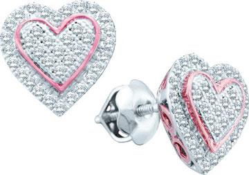 Ladies Diamond Heart Earrings 10K Rose Gold 0.25 cts. GD-51146