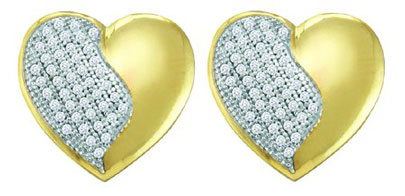 Ladies Diamond Heart Earrings 10K Yellow Gold 0.25 cts. GD-55527