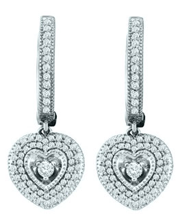 Ladies Diamond Heart Earrings 10K White Gold 0.76 cts. GD-55581