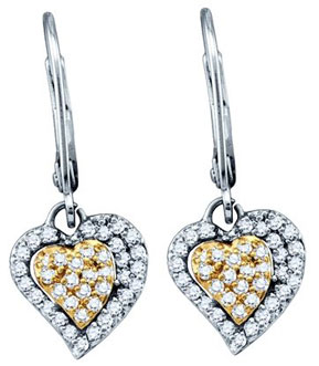Ladies Diamond Heart Earrings 10K White Gold 0.51 cts. GD-60165