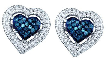 Ladies Diamond Heart Earrings 10K White Gold 0.40 cts. GD-60784