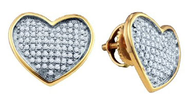 Ladies Diamond Heart Earrings 10K White Gold 0.27 cts. GD-65633