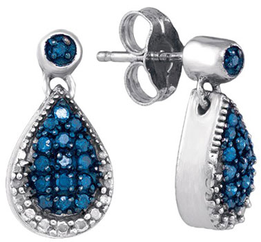 Blue Diamond Earrings 10K White Gold 0.27 cts. GD-85784