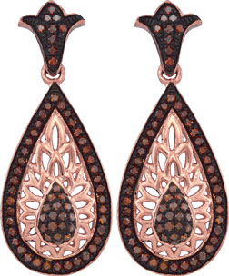 Ladies Diamond Fashion Earrings 10K Rose Gold 0.50 cts. GD-88335