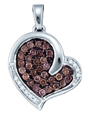 Brown Diamond Heart Pendant 10K White Gold 0.51 cts. GD-74907