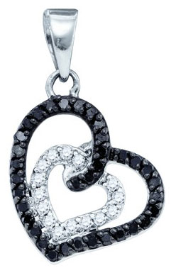 Black Diamond Heart Pendant 10K White Gold 0.32 cts. GD-76810