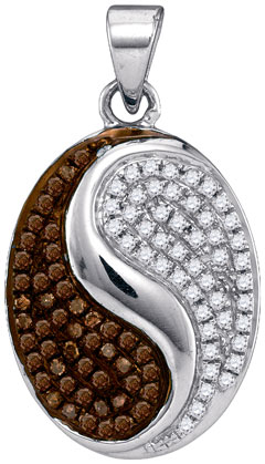 Brown Diamond Fashion Pendant 10K White Gold 0.33 cts. GD-88717