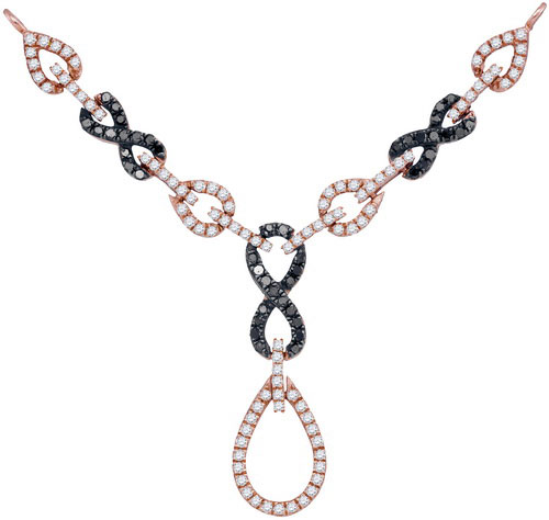 Black Diamond Fashion Necklace 10K Rose Gold 0.80 cts. GD-93102