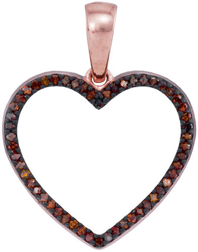 Red Diamond Heart Pendant 10K Rose Gold 0.15 cts. GD-93430