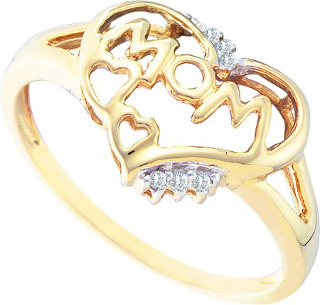Ladies Diamond Mom Heart Ring 10K Yellow Gold 0.04 cts. GD-26600