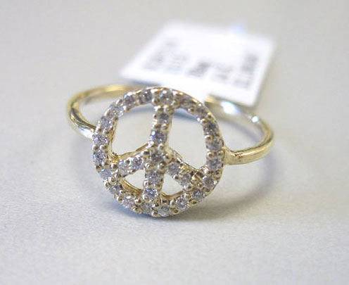 Ladies Diamond Peace Ring 14K Yellow Gold 0.20 cts. 6J7719