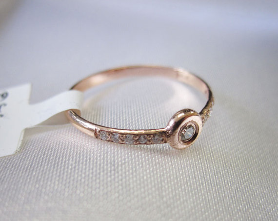 Ladies Diamond Bezel Ring 14K Rose Gold 0.15 cts. 6J7789
