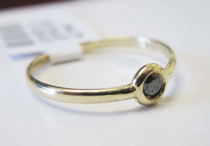 Black Diamond Bezel Ring 14K Yellow Gold 0.08 cts. 6J7963B