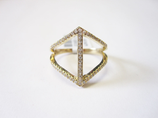 Diamond Criss Cross bar Ring 14K Yellow Gold 0.30 cts. 6J8120