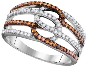 Cognac Diamond Fashion Ring 10K White Gold 0.45 cts. GD-104454
