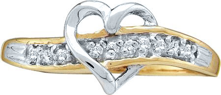 Ladies Diamond Heart Ring 10K Gold 0.05 cts. GD-12792