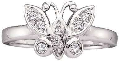 Ladies Diamond Butterfly Ring 10K White Gold 0.10 cts. GD-29604