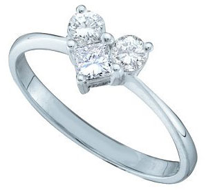 Ladies Diamond Heart Ring 14K White Gold 0.52 cts. GD-39946
