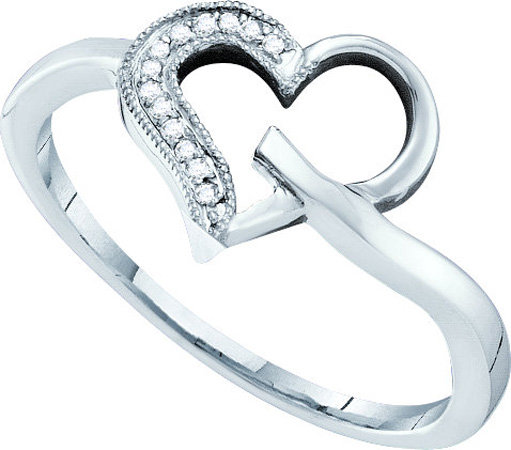 Ladies Diamond Heart Ring 10K White Gold 0.04 cts. GD-51917