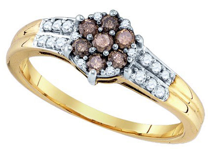 Cognac Brown Diamond Ring 10K Yellow Gold 0.36 cts. GD-76117