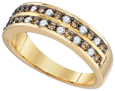 Cognac Brown Diamond Band 10K Yellow Gold 0.50 cts. GD-79143