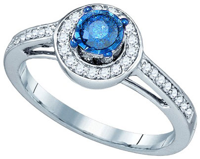 Blue Diamond Fashion Ring 10K White Gold 0.40 cts. GD-79190