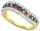 Cognac Brown Diamond Band 10K Yellow Gold 0.75 cts. GD-80084
