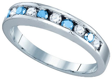 Blue Diamond Bridal Band 10K White Gold 0.25 cts. GD-80955