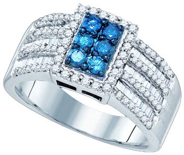 Blue Diamond Fashion Ring 10K White Gold 1.00 ct. GD-81970