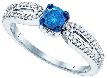 Blue Diamond Bridal Ring 10K White Gold 0.48 cts. GD-83992
