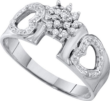Diamond Heart Ring 10K White Gold 0.10 cts. GD-8589