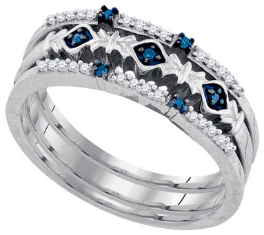 Blue Diamond Bridal Ring Set 10K White Gold 0.15 cts. GD-86355