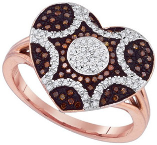 Ladies Diamond Heart Ring 10K Rose Gold 0.33 cts. GD-89705