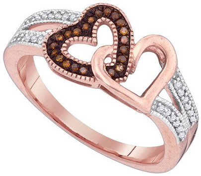 Ladies Diamond Heart Ring 10K Rose Gold 0.15 cts. GD-89707