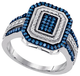 Blue Diamond Fashion Ring 10K White Gold 0.33 cts. GD-90369