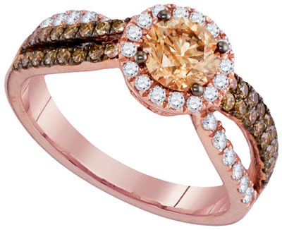 Cognac Diamond Bridal Ring 14K Rose Gold 1.34 cts. GD-94301