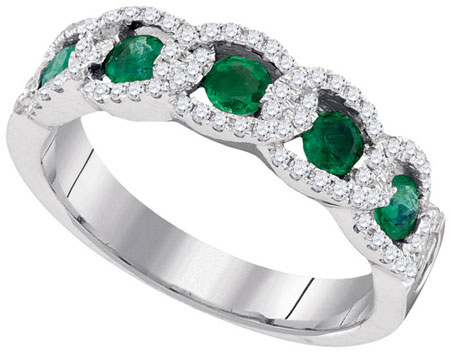 Ladies Diamond Emerald Band 14K White Gold 0.86 cts. GD-95385